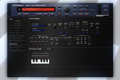 Roland Cloud SRX KEYBOARDS Software Synthesizer — A virtual recreation of an early 2000s SRX expansion board that was originally only available for compatible Roland hardware synths —